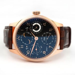 IWC Portuguese Perpetual Calendar Rose Gold Black Dial Watch