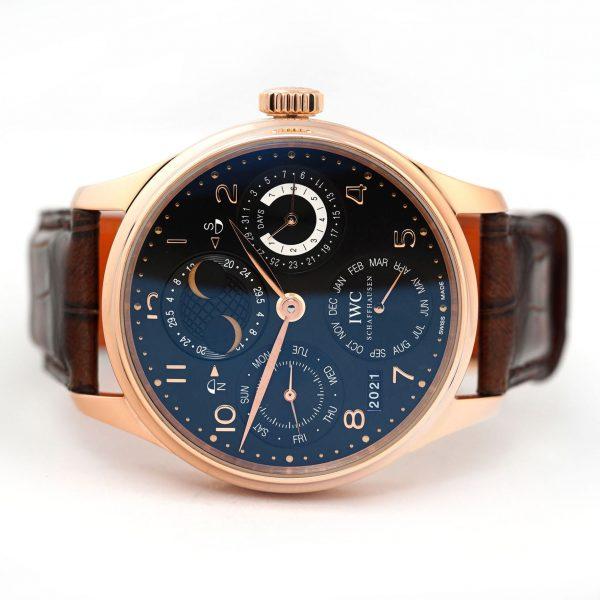 IWC Portuguese Perpetual Calendar Rose Gold Black Dial Watch