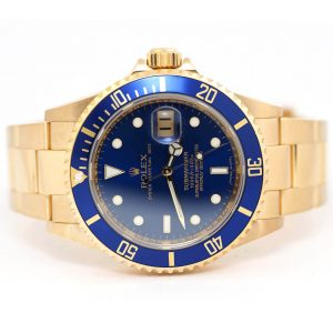 Rolex Submariner Date Oyster Perpetual Yellow Gold Blue Dial Watch