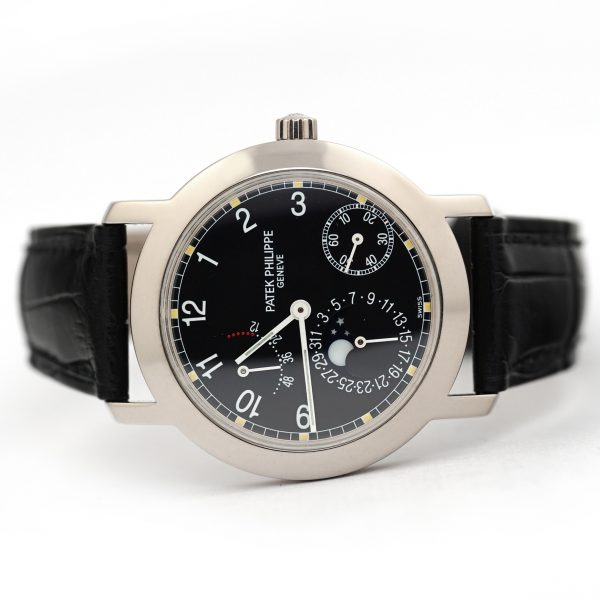 Patek Philippe Complications Moonphase Power Reserve Black Dial Watch