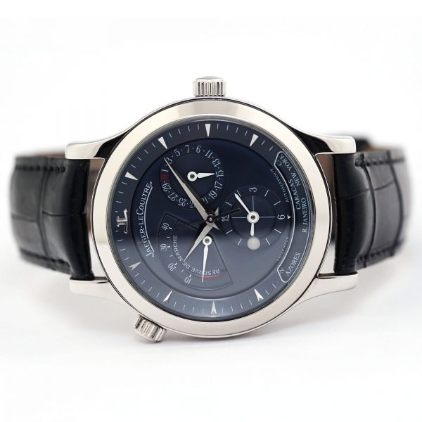 Jaeger-LeCoultre Master Control Geographic Blue Dial Platinum Wristwatch