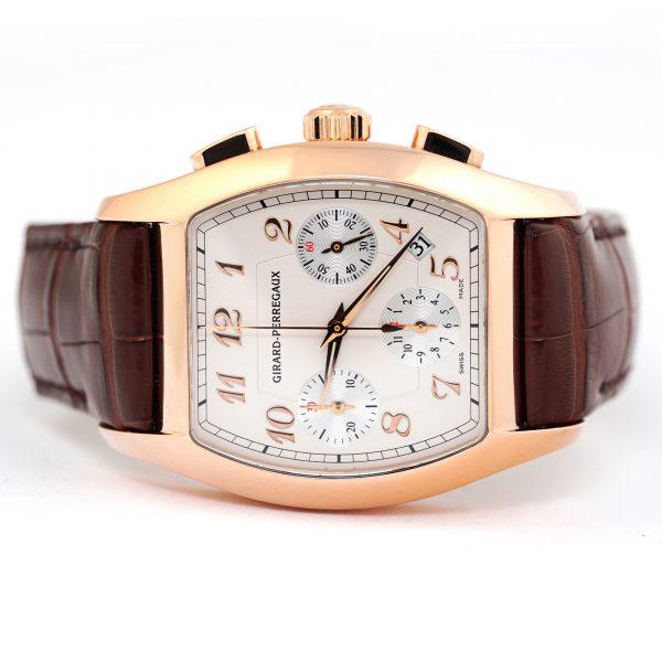 Girard Perregaux Richville Chronograph Rose Gold Silver Dial Watch
