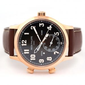Patek Philippe Calatrava Pilot Travel Time Brown Dial Watch