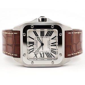 Cartier Santos 100 Large Silver Dial Watch