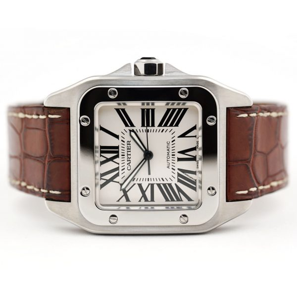 Cartier Santos 100 Large Silver Dial Watch
