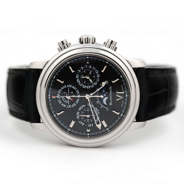 Blancpain Leman Perpetual Calendar Flyback Chronograph Black Dial Watch