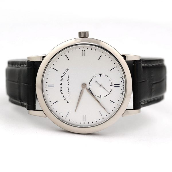 A. Lange & Sohne Saxonia Manual Wind Silver Dial White Gold