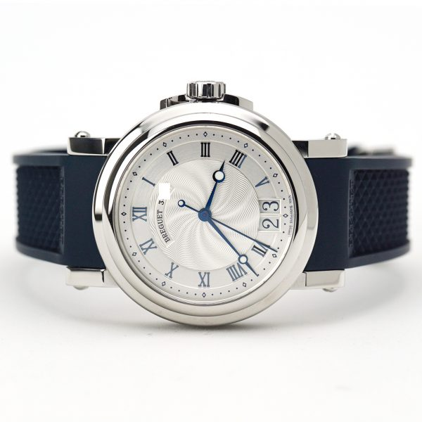 Breguet Marine Automatic Big Date Silver Dial Blue Strap