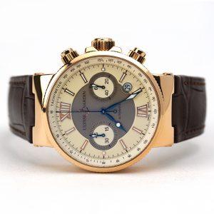 Ulysse Nardin Maxi Marine Chronograph Ivory Dial Rose Gold